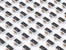 Une vue supérieure des lieux de travail d'entreprise symétriques sur le plancher blanc Un concept de la vie d'entreprise à une so illustration stock