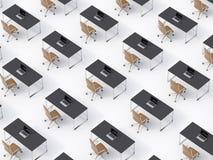 Une vue supérieure des lieux de travail d'entreprise symétriques sur le plancher blanc Un concept de la vie d'entreprise à une so illustration libre de droits