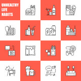 Unealthy lifestyle habits black and white line vector icons isolated. Fast junk food cola hanburger pizza. Bag habit. Smoking drugs energetic. Waste of time Stock Image