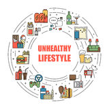 Unealthy lifestyle habits colorful line vector icons isolated. Fast junk food, bag habits, waste of time. Obesity and. Bad health circle illustration Royalty Free Stock Photo