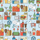 Unealthy lifestyle habits colorful line vector icons seamless pattern. Fast junk food cola hanburger pizza. Bag habit. Smoking drugs energetic. Waste of time Stock Image