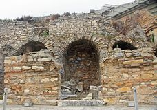 Some of the Restored Ruins of Ancient Ephesus in Turkey stock images