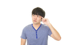 Uneasy Asian man Stock Photography