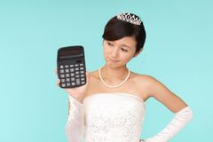 Uneasy Bride In Wedding Dress Royalty Free Stock Images