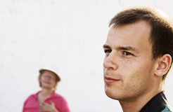 Uneasy conversation Stock Images