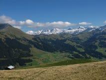 Uneinheitliches Ackerland und hohe Berge Lizenzfreie Stockfotografie