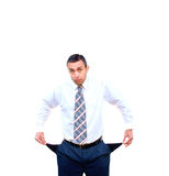 Unemployed. Shocked adult businessman experience embarrassed and finance problem Royalty Free Stock Photo
