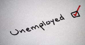 Unemployed. A tick of an unemployed option for people who are looking for a job Stock Photo