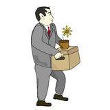 Unemployed. Illustration of a businessman carrying his belongings after being laid off Royalty Free Stock Photos