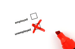 Unemployed. Checkbox for selection on white paper with red marker pen Stock Photography