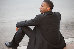 Unemployed black businessman Royalty Free Stock Photo