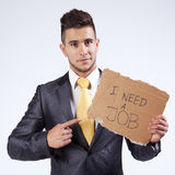 Unemployed businessman that needs a job Royalty Free Stock Photo