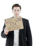 Unemployed businessman with a sign Royalty Free Stock Photography