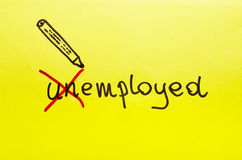 Unemployed or employed concept written on yellow cardboard. Royalty Free Stock Photo