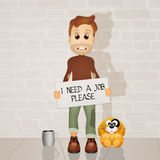 Unemployed. Funny illustration of homeless and dog Royalty Free Stock Image