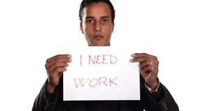 The unemployed generation. Jobless boy. Young man with a sign need work stock video