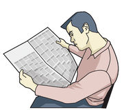 Unemployed jobless man who reads newspapers for job ads. Illustration drawing of a man facing the job ad in the newspaper to tell the visual Unemployment. It can Royalty Free Stock Photos