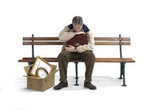 Unemployed man on a bench Stock Photography
