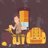 Unemployed Man In Dirty Room, Jobless Person In Messy House, Poor Person Apartment, Vector Illustration Royalty Free Stock Photography