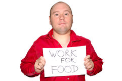 Unemployed man with poster Royalty Free Stock Images