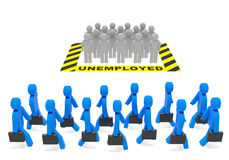 Unemployed People. Unemployment (employment) job social policy concept. Unemployed population and occupied (employed) population (job holders, workers) as symbol Stock Photos