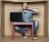 An unemployed person after graduation drink alcohol Stock Photo