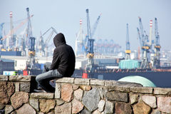 Unemployed in the port of Hamburg in Germany Stock Photo