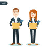 Unemployed sad man and woman during the financial crisis. Unemployed sad man and woman with boxes in their hands during the financial crisis. flat illustration Stock Photo