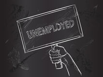 Unemployed Sketch on Blackboard Royalty Free Stock Image