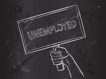 Unemployed Sketch on Blackboard. Vector Art Royalty Free Stock Image