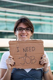 Unemployed woman Stock Photo