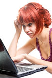 Unemployed woman searching online for job Stock Photos