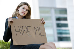 Unemployed Young Woman Asking For A Job Stock Photos