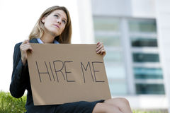 Unemployed Young Woman Asking For A Job Royalty Free Stock Images