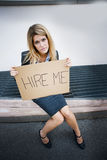 Unemployed Young Woman Asking For A Job Stock Images