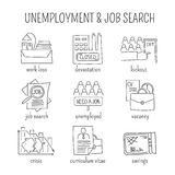 Unemployement line icons set. Hand drawn thin line icons set, vector illustration. Unemployment and crisis isolated symbols. Black on white pictograms. Simple Royalty Free Stock Image