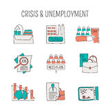 Unemployement line icons set. Hand drawn thin line icons set, vector illustration. Unemployment and crisis isolated symbols. Pictograms in color. Simple mono Stock Photo