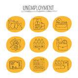 Unemployement line icons set Royalty Free Stock Images