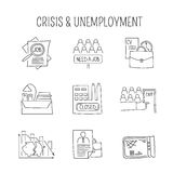 Unemployement line icons set Stock Photos