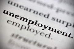 Unemployment. Close up of dictionary word Unemployment royalty free stock photos