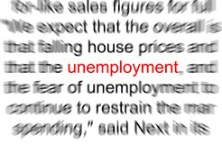 Unemployment. Abstract photo of the word unemployment Stock Photography