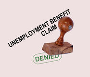 Unemployment Benefit Claim Denied. Stamp Showing Social Security Welfare Refused Royalty Free Stock Photos