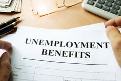 Unemployment benefits form. Unemployment benefits form on a table royalty free stock photography