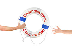 Unemployment Compensation life buoy ring and hands Royalty Free Stock Photography
