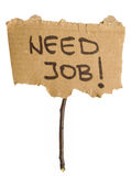 Unemployment concept. Title Need Job on the hand made banner Stock Image