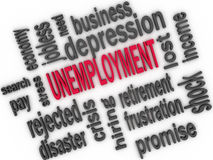 Unemployment concept. Jobless word cloud. 3d Royalty Free Stock Photo