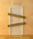 Unemployment crisis. Crossed door that symbolizes the working crisis Royalty Free Stock Images