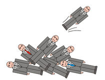 Unemployment crisis dismissal illustration. Many dismiss managers on white background royalty free illustration