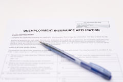 Unemployment insurance application Stock Image