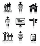 Unemployment, job searches icons set. People looking for job icons set on white stock illustration